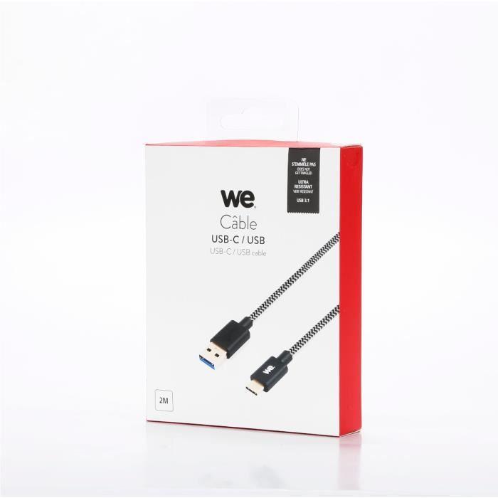 WEWE Câble USB-C mâle/USB A mâle tressé2 m - USB 3.1 gen 1 - noir et blanc ne s'emmêle pas Noir / Blanc