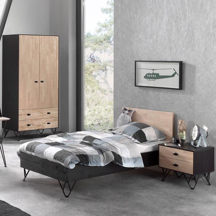 Chambre enfant moderne en bois SPIKE armoire 2 portes Marron L 95 x P 210 x  H 90 cm