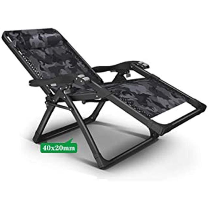 Jardin Inclinable Soleil Lit Transat Chaise longue pliante réglable Fauteuil de plage pliable