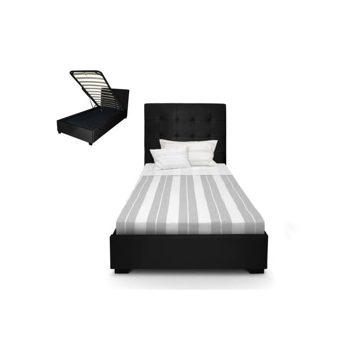 lit coffre sommier capitonn cuir pu noir romeo achat vente sommier cdiscount. Black Bedroom Furniture Sets. Home Design Ideas
