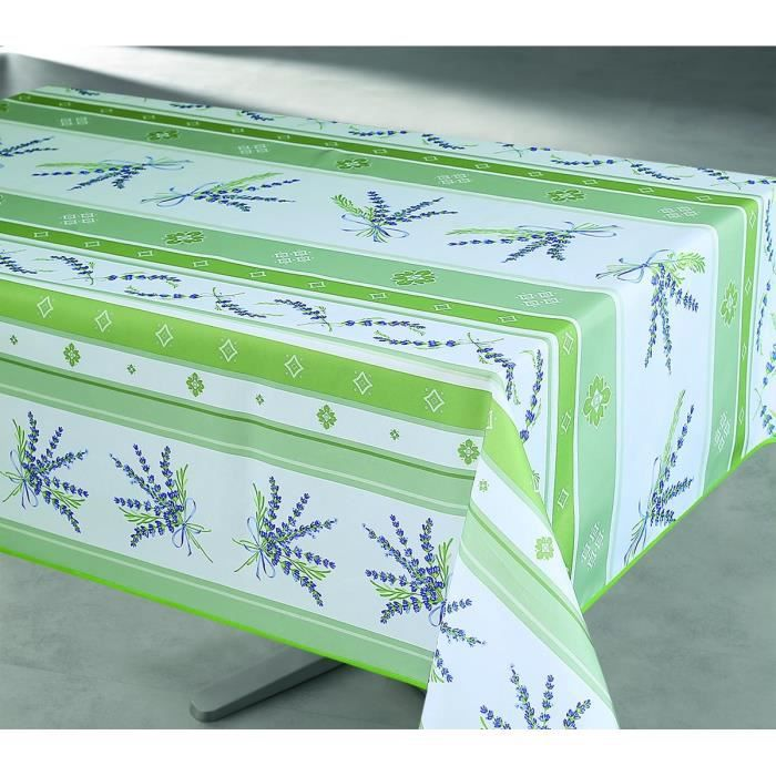 nappe enduite rectangulaire 145x240 cm jaune et vert. Black Bedroom Furniture Sets. Home Design Ideas
