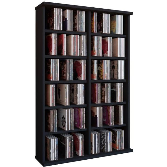 ronul tour rangement biblioth que cd dvd 300 cd sans portes noir achat vente biblioth que. Black Bedroom Furniture Sets. Home Design Ideas