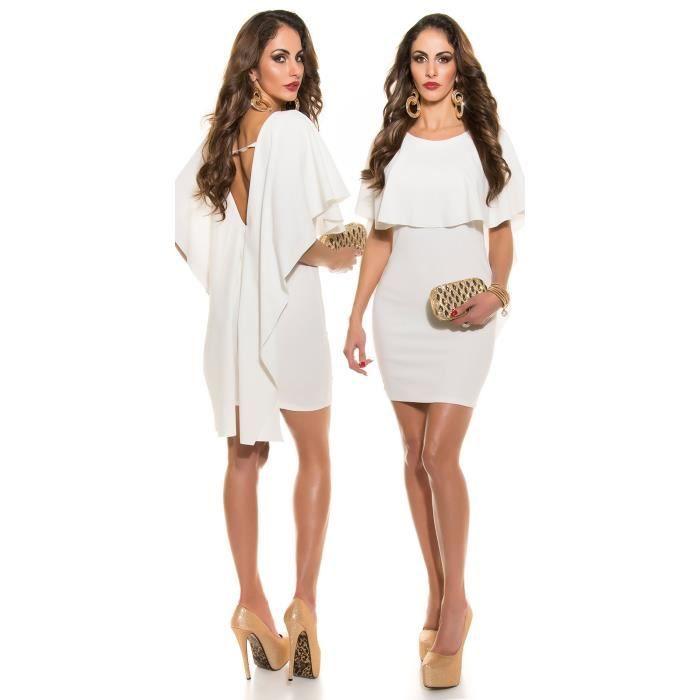 Robe Soiree Chic Blanc Casse Dos Nu Fete Moulante Courte Femme Chic Elegante Achat Vente Robe 3154894156415 Cdiscount