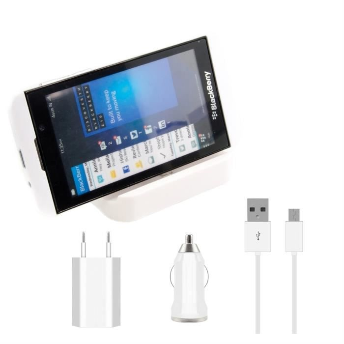 kwmobile station d 39 accueil micro usb pour blackberry z10 blanc kit de chargement haut de. Black Bedroom Furniture Sets. Home Design Ideas