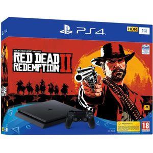 CONSOLE PS4 Console PS4 Slim 1To Noire/Jet Black + Red Dead Re