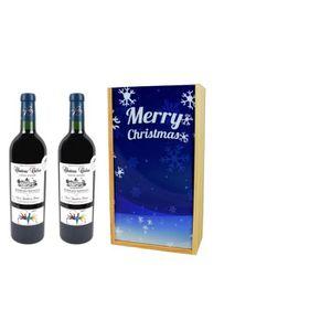 """COFFRET CADEAU VIN Coffret vin  Cadeau Imprimé """"Flocons"""" + 2 Bouteill"""