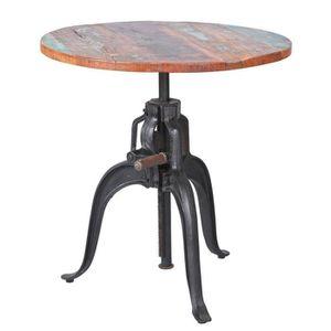 TABLE À MANGER SEULE Table ronde réglable en hauteur en bois, Dim : L75