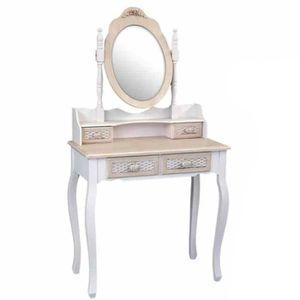 COIFFEUSE Console meuble coiffeuse miroir 4 tiroirs 75 x 40