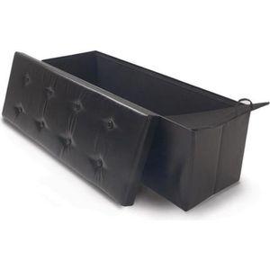 BANC Banc coffre de rangement simili cuir noir OSE - Gr