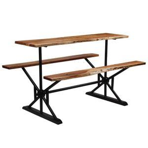 MANGE-DEBOUT Table de bar avec bancs Bois massif d'acacia 180 x