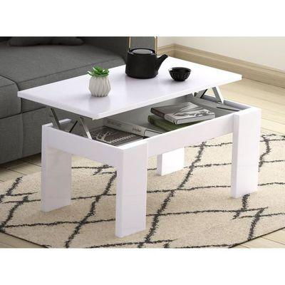 x L100 Table cm plateau blanche basse l50 relevable avec n0vm8wyON