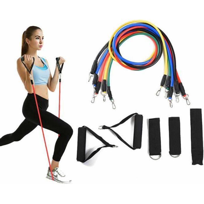 11 pièces Kit Bande de Résistance Bande Élastique Fitness Bandes d'exercice pour Entraînement Sport à l'interieur Yoga Pilates