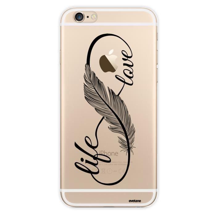 Coque iPhone 6 iPhone 6S rigide transparente Love Life Ecriture Tendance et Design Evetane