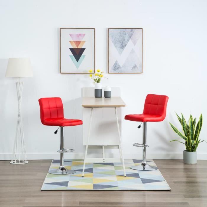 @MOBI1999Lot de 2 Tabourets de Bar Design Moderne - Tabouret Cuisine Tabouret Haut Chaise de Bar Rouge Similicuir