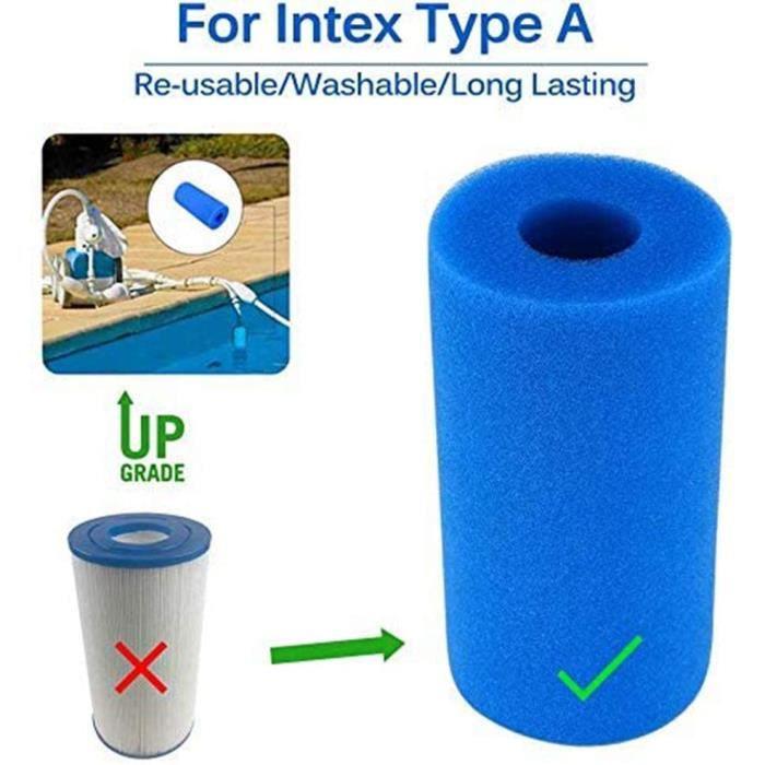Filtre Sponge pour Éponge à Cartouches Intex Type A Lavable, Filtre Piscine Mousse Cartouches Filtre Eponge Outil de Nettoyage S Lot