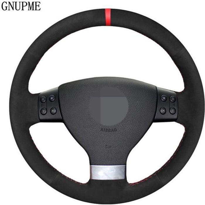 Housse de volant en daim noir, bricolage, accessoires pour Volkswagen Golf 5 2005 – 2009 Passat B6 Jet White Thread