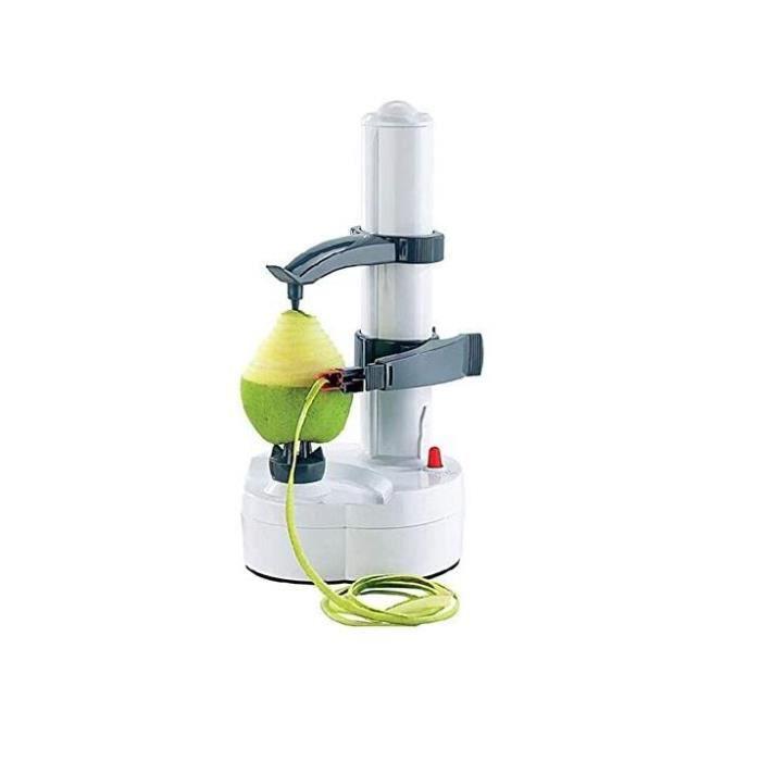 Multifonction Électrique Éplucheur Automatique,Tournant Pomme Patate Peeling Machine Légume Coupeur Peeling Outil (White)