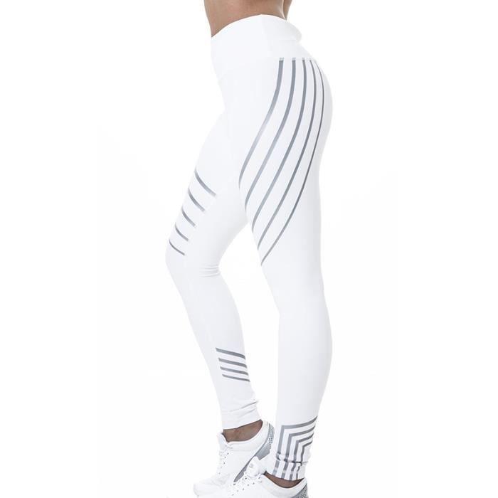 white L Femmes Slim Sports Taille Haute Pantalon Décontracté High Elastic Gym Leggings Yoga Pantalon