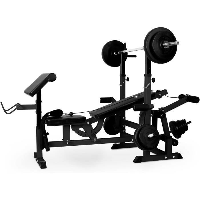 ks02 station de musculation fitness multifonction (pupitre à curl, butterfly, porte-haltères, câbles détirement avec banc pou