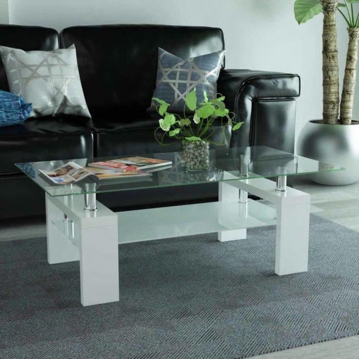 Table Basse Rectangulaire Verre Sécurit Bois Blanc MDF avec une finition à haute brillance 110x60x40cm -RUR
