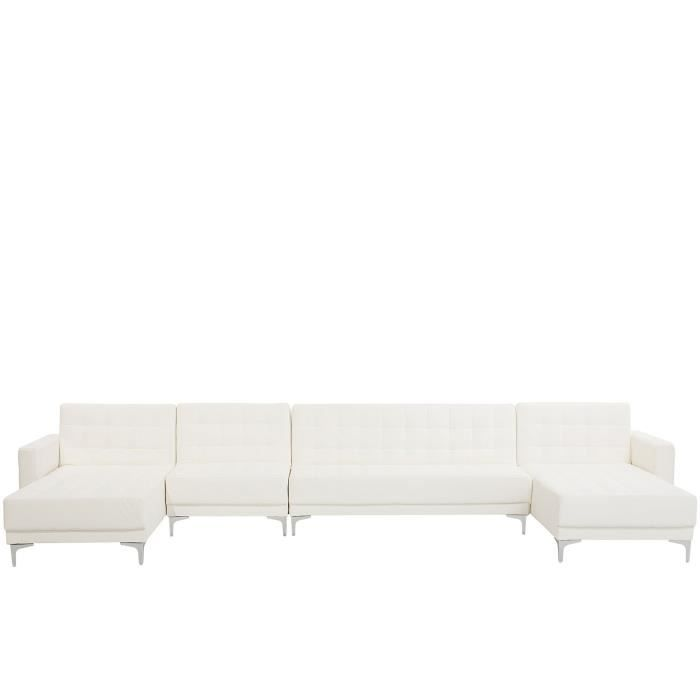 Beliani - Grand canapé en forme de U en simili-cuir blanc ABERDEEN