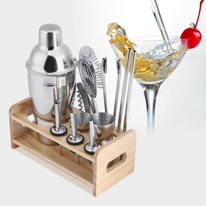 Set Cocktail Bar 12 Pièces En Acier Inoxydable Shaker Pince Cuillère 550ml