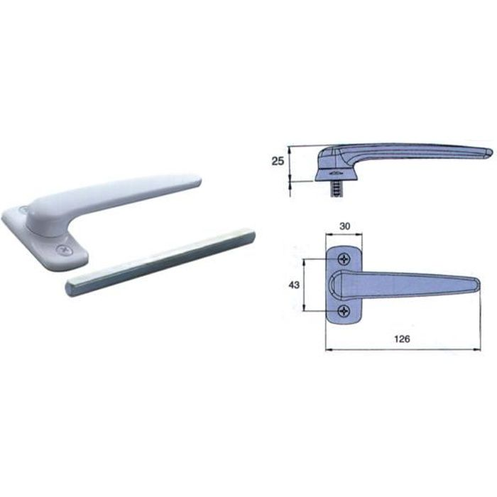 Bequille simple horus blanc 9010 - 2050A