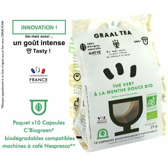 GRAALTEA THÉ VERT A LA MENTHE DOUCE Bio en capsule biodégradable compostable compatible Nepresso*- Arôme naturel de menthe - 1