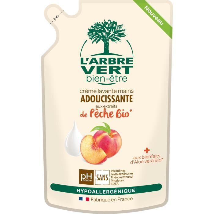 L'Arbre Vert Bien-être Recharge Crème Lavant Mains Pêche Bio aux Bienfaits d'Aloé Vera Bio/Extraits de Pêche Bio 300 ml