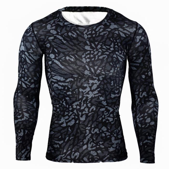 Combinaison de Compression Pour Homme Séchage Ultra Rapide Tee Shirt À Manche Longue De Running Fitness Gym Tops,Noir3