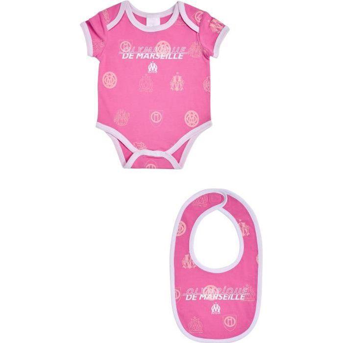 Body bavoir bébé fille OM - Collection officielle Olympique de Marseille