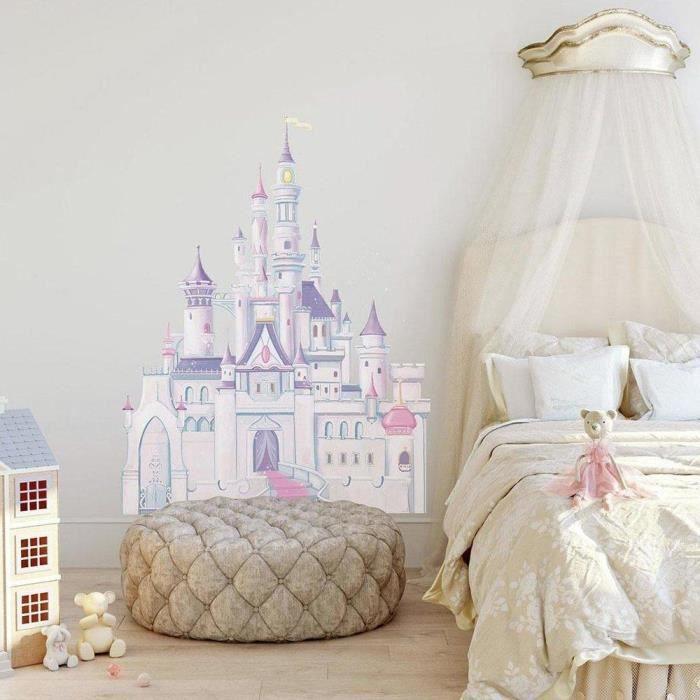 Thedecofactory RMK1546GM Autocollants Disney Chateau Princesse GÌANT ROOMMATES REPOSITIONNABLES (107X81CM), Vinyle, Multicolore,