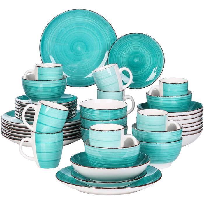 vancasso, Série Bella, Service de Table en Porcelaine,Faïence Style Vintage Rustique,Motif Cercle Arbre-vert -40pcs