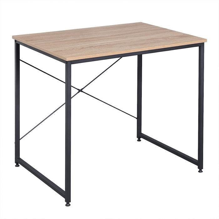WOLTU Table de travail en acier et en bois,Bureau d'ordinateur avec étagère, 80x60x70cm,7.34kg,Noir+chêne clair