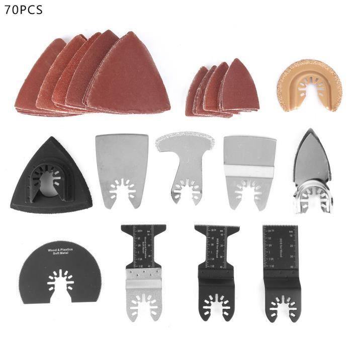 WIP Kit lames de scie multifonctionnel 70 pièces, Outil multifonction universel Rapide pour Coupe General Multi-Tool