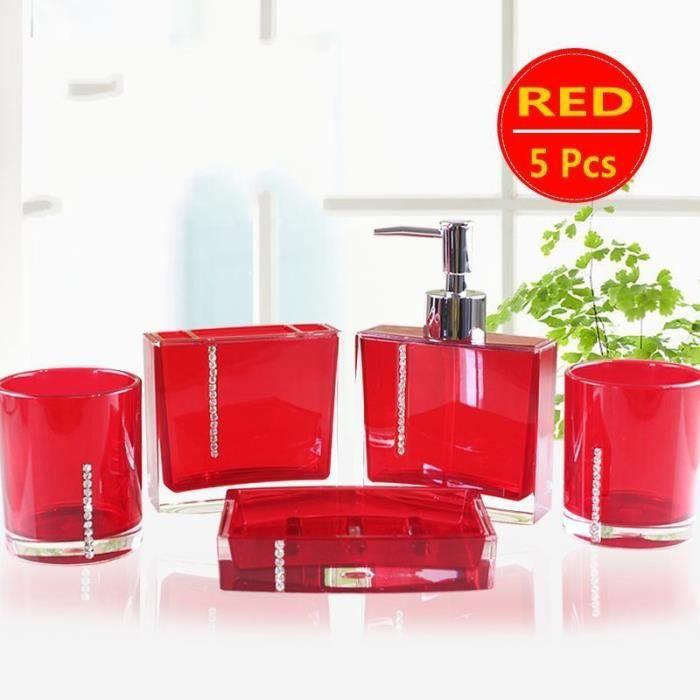 Accessoire salle de bains rouge