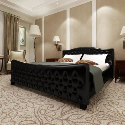 lit en cuir de luxe matelas inclus 180 x 200 cm achat vente lit complet lit en cuir de luxe. Black Bedroom Furniture Sets. Home Design Ideas