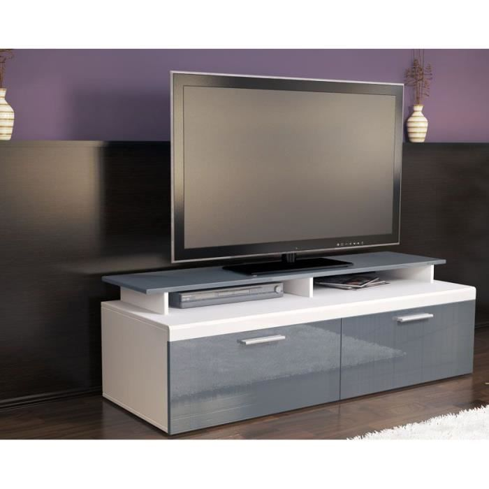 meuble tv blanc gris avec plateau 140 cm achat vente meuble tv meuble tv blanc gris avec p. Black Bedroom Furniture Sets. Home Design Ideas