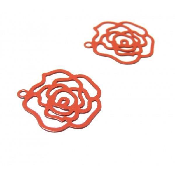 4 x acier inoxydable Filigrane Fleur Charms Pendentifs 21 mm x 20 mm