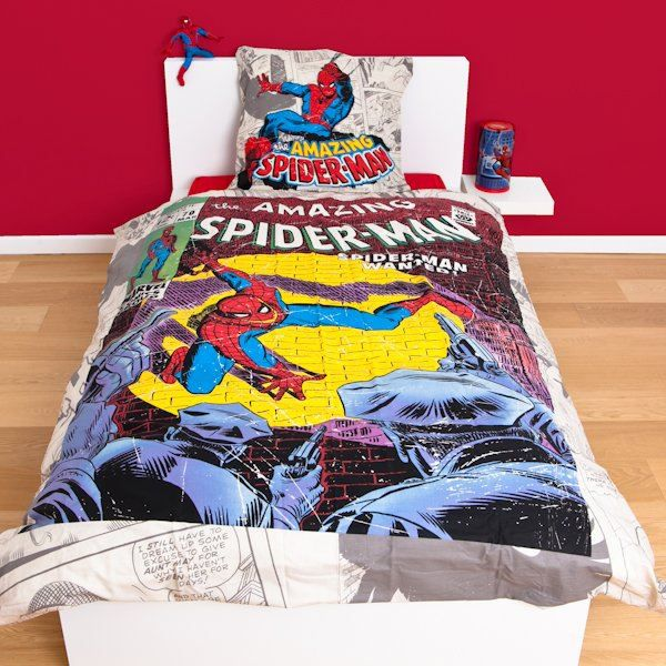parure de lit spiderman marvel comic achat vente parure de couette cdiscount. Black Bedroom Furniture Sets. Home Design Ideas