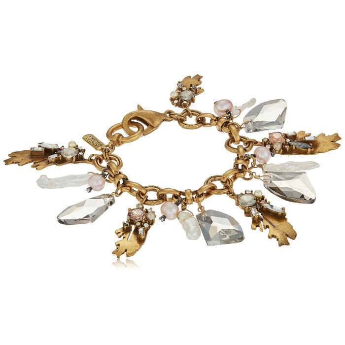 Badgley Mischka Leaf And Pearl Shaky Charm Bracelet OUXAD 4tcSon