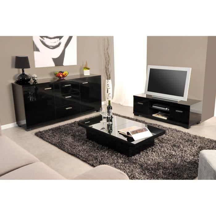 Ensemble meuble tv et table basse noir table de lit a for Acheter salon complet