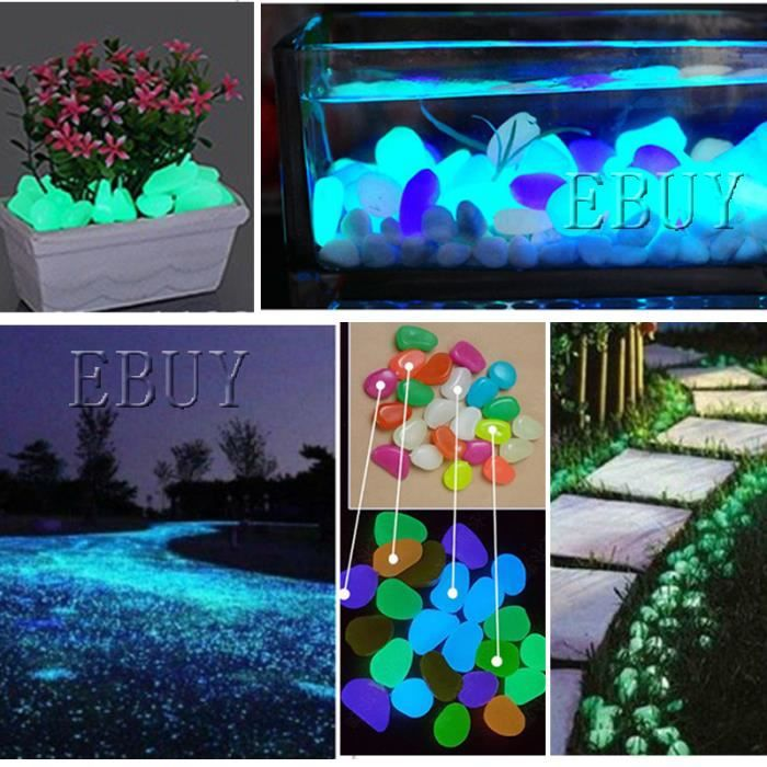 ebuy lot de 100 cailloux lumineux artificielle pierre brillant galet aquarium jardin d cor. Black Bedroom Furniture Sets. Home Design Ideas