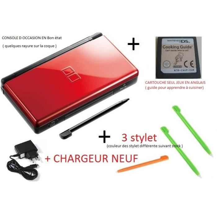 console ds lite crimson d occasion chargeur 3 stylet cooking guide achat vente console. Black Bedroom Furniture Sets. Home Design Ideas