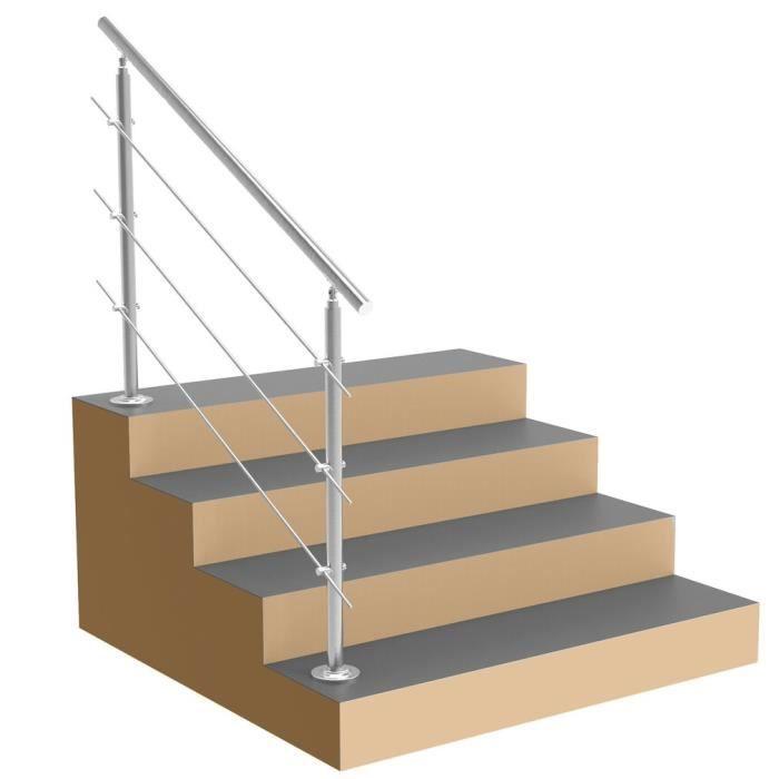 balcon LZQ 120cm Main courante en acier murale Garde-corps inoxydable avec 2 poteaux traverses pour escaliers balustrade
