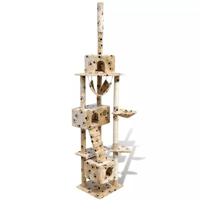 Arbre À Chat En Beige Avec Empreinte De Patte 220-240 Cm 3 Niches