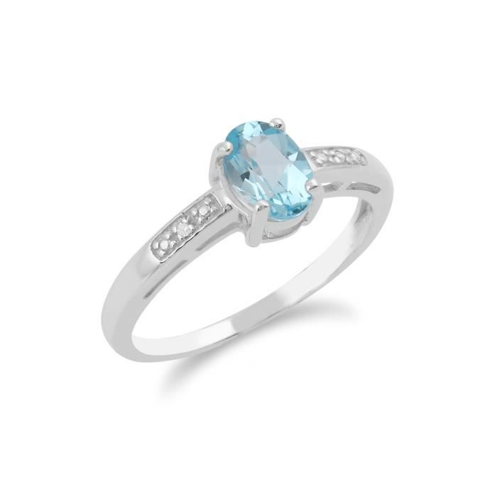 Gemondo Bague Solitaire Or blanc 9 ct Topaze Bleu & Diamant