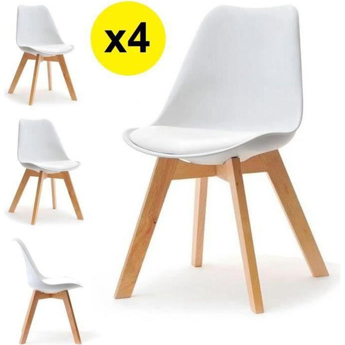 blanc coloris Skagen Lot 4 chaises scandinaves Style de nPwkX0O8