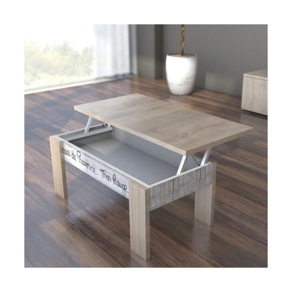 table basse coloris ch ne dim 100 x 50 x 40 cm achat. Black Bedroom Furniture Sets. Home Design Ideas