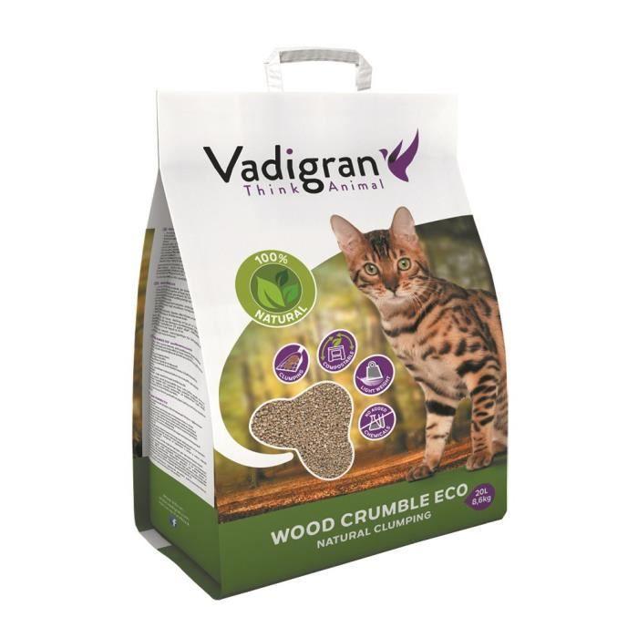 VADIGRAN Litière Wood Crumble - 20 L - Pour chats
